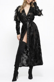 BLACK ROBE DRESS WITH EMBELLISHED ORGANZA PUFF SLEEVES