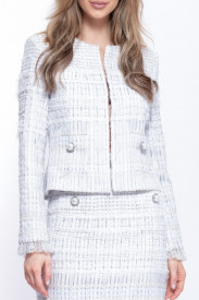 WHITE MIX TWEED BLAZER
