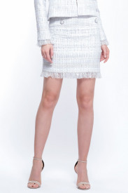 WHITE TWEED SKIRT