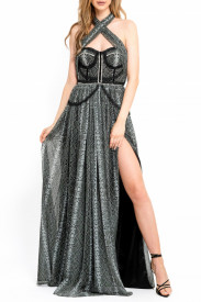 BLACK GREEN SNAKE PRINTED TULLE GOWN