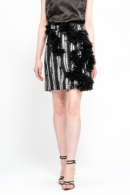 SILVER AND BLACK MIX TWEED EMBELLISHED SKIRT