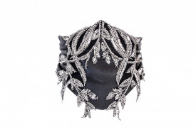 SILVER EMBELLISHED LEATHER WAIST BELT