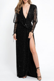 BLACK EMBELLISHED TULLE GOWN