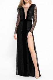 BLACK LACE, EMBELLISHED TULLE AND VELVET GOWN