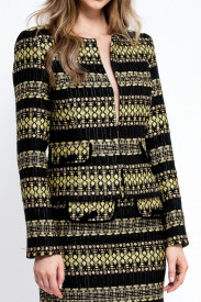 BLACK AND YELLOW MIX TWEED BLAZER