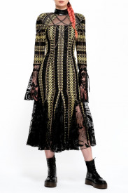 BLACK AND YELLOW MIX TWEED MIDI DRESS WITH LACE INSERTS