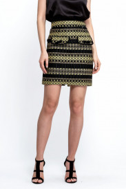 BLACK AND YELLOW MIX TWEED SKIRT