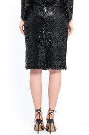 BLACK SILICONE LACE SKIRT