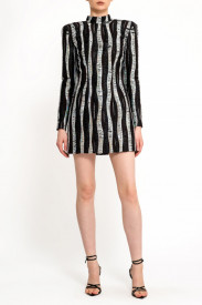 SILVER AND BLACK MIX TWEED STRUCTURED DRESS
