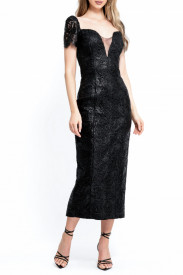 BLACK SILICONE LACE MIDI DRESS