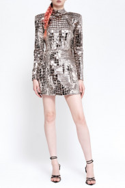 CROCO-METALLIC SILVER DRESS