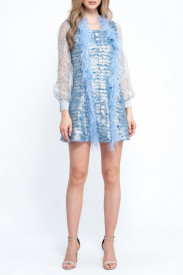 LEATHER AND LACE MINI DRESS WITH OSTRICH FEATHERS INSERTS
