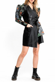 PATENT LEATHER LONG JACKET WITH STRUCTURED BROCARD PUFF SLEEVES