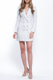 WHITE MIX TWEED DRESS COAT