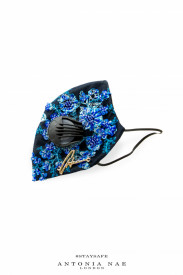 EMBROIDERED BLUE FLOWERS FACE MASK