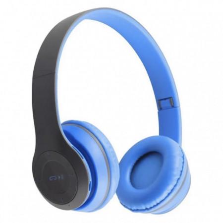 Casti bluetooth FOXMAG24® ,Wireless, cu microfon , card de memorie, Albastru/negru