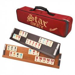 Joc de societate Remi/Rummy STAR OKEY PREMIUM FOXMAG24®, premium din lemn masiv cu piese din plastic de calitate superioara, geanta de mana inclusa