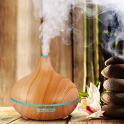 Difuzor Uleiuri Esentiale, 550 ml, Ultrasonic, AROMA M303 Aromatherapy, Bamboo, 7 culori, Telecomanda + CADOU: 1 pachet monstre doTerra