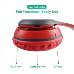 Casti bluetooth FOXMAG24®, Wireless, cu microfon , card de memorie, Alb