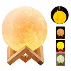 Lampa Luna cu Difuzor Aromaterapie, 3 lumini, imprimata 3D, cu touch, modelul nou cu Stand Lemn, FOXMAG24