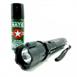 Set Electrosoc cu lanterna si laser pentru autoaparare FOXMAG24® + Spray paralizant NATO 60ml