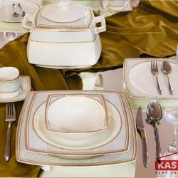 Set Masa- Farfurii Portelan SuperPremium 24 piese Egipt Gold