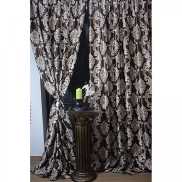 Set 2 draperii black-out 200x245cmx2,culoare maro-bej,model baroc, Model 6