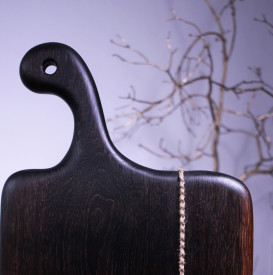 Platou servire din lemn negru 49 cm
