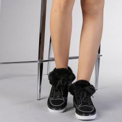 Papuci Dama Crazy Imblaniti Negru