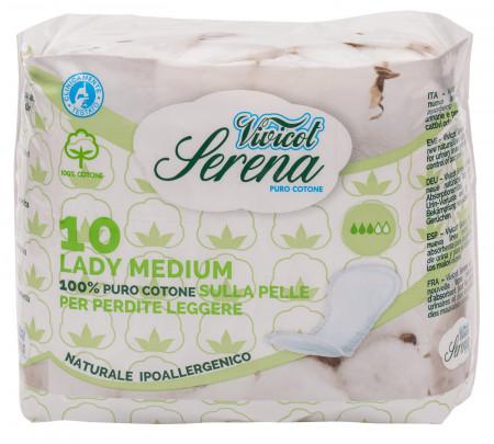 Absorbante din bumbac natural, fara aripioare - Medium - 3 picaturi ( 10buc ) - VIVICOT Serena Lady