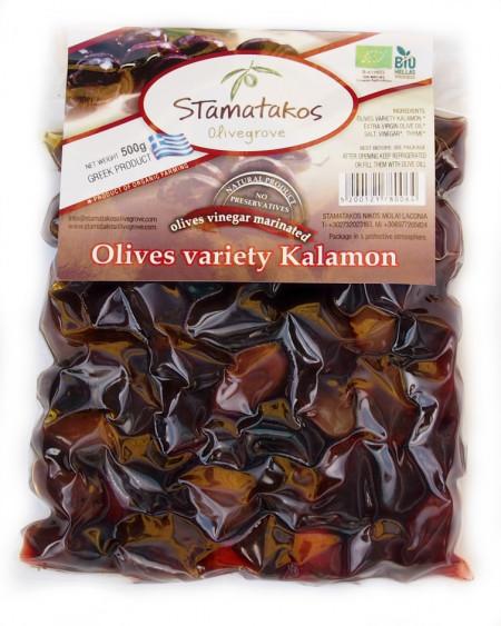 Masline Kalamata vidate marinate in otet bio 500g