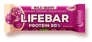 Lifebar baton proteic cu fructe de padure raw bio 47g