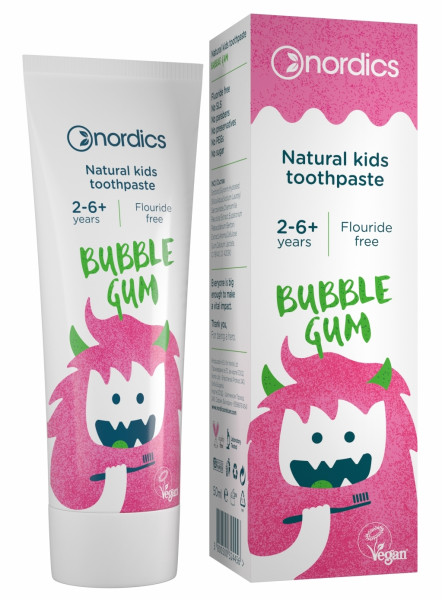Pasta de dinti naturala pentru copii Bubble Gum 50ml Nordics