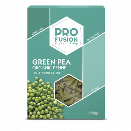 Penne din mazare verde, fara gluten, eco 250g Profusion
