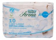 Absorbante din bumbac natural, fara aripioare - Lungi - 3 picaturi (10buc) - VIVICOT Serena Lady