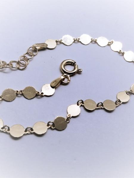 Bratara argint placata cu aur -discuri - 17 + 3 cm-BRMP0009PLGIA
