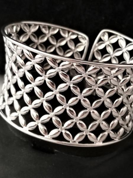Bratara argint lata, semideschisa ,reglabila -BRST0532AG40+P0692-Pandantiv Swarovski CADOU