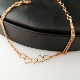 Bratara argint placata cu aur -inimioare- BRSB0827PLGIA