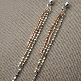 Cercei 3 culori -argint si argint placat cu aur galben si roz -ORSS2869RT