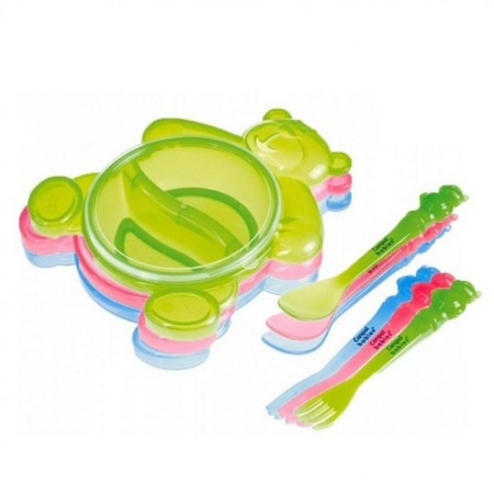 Slika Canpol Baby set za hranjenje Happy Bear 140ml Green 2/422