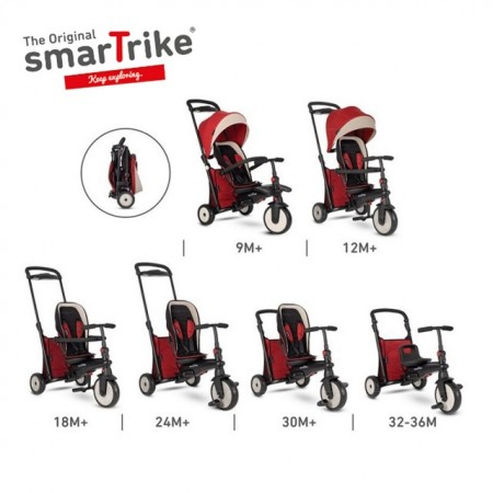 Slika Tricikl Smart Trike Folding 500 Recliner 9M+ Red Melange