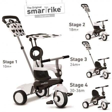 Slika Smart Trike Vanilla White & Black Tricikl za decu sa ručkom za guranje 4 u 1