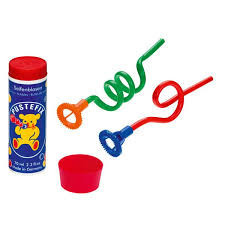 Set baloane de sapun cu 2 paie ondulate, 2tavite si 2 tuburi de solutie Pustefix 42ml