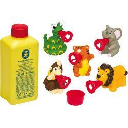 Set baloane de sapun Pustefix - Mini Bubbelix- 5 figurine animale din jungla