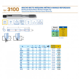 TAROD DREPT HSS 5%Co M2.6 x0.45