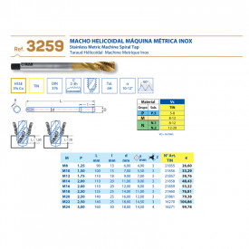 TAROD ELICOIDAL HSS 5%Co TIN M12 x1.75