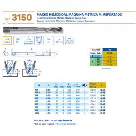 TAROD ELICOIDAL HSS 5%Co M3 x0.5