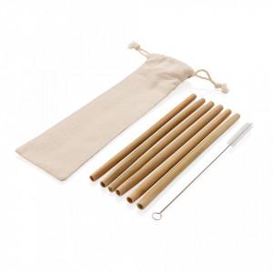 Reusable bamboo drinking straw set 6 pcs