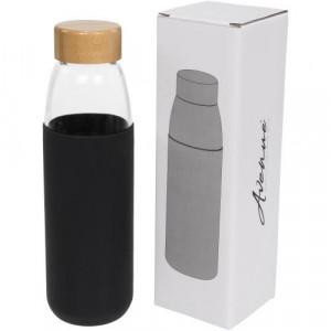 Kai 540 ml glass sport bottle with wood lid - Kai 540 ml glass sport bottle with wood lid