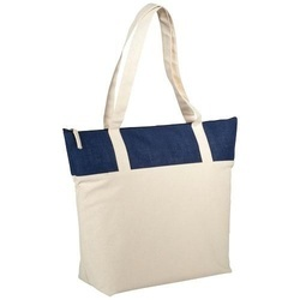 Jones 407 g/m² zippered cotton and jute tote bag